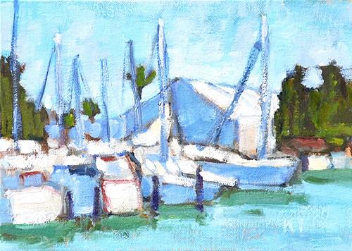 """""""San Diego Sailboats Plein Air"""" original fine art by Kevin Inman"""