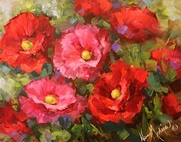 """Early to Rise Pink and Red Poppies of the Hill Country by Texas Flower Artist Nancy Medina"" original fine art by Nancy Medina"