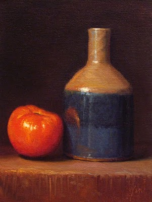 """Still Life with Red Tomato and Bottle - available"" original fine art by Abbey Ryan"