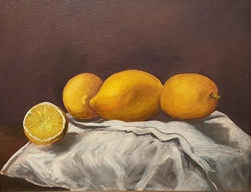 """Lemons on a Table"" original fine art by Mechele Flowers"