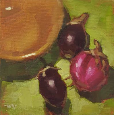 """Eggplant Gang"" original fine art by Carol Marine"