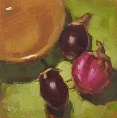 """""""Eggplant Gang"""" original fine art by Carol Marine"""