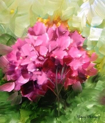 """Pink Hydrangeas and a Tour of Dallas Blooms by Texas Flower Artist Nancy Medina"" original fine art by Nancy Medina"