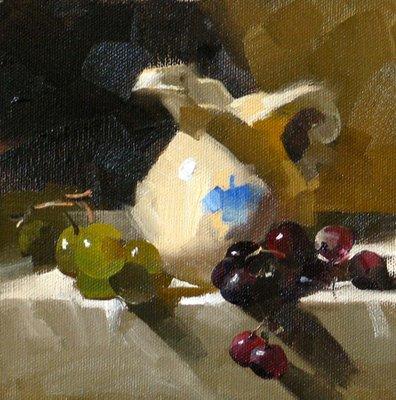 """Green and Purple"" original fine art by Qiang Huang"