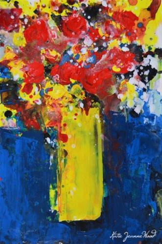 """Red and yellow floral painting No 185"" original fine art by Katie Jeanne Wood"