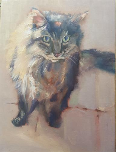 """My beloved cat"" original fine art by Rentia Coetzee"