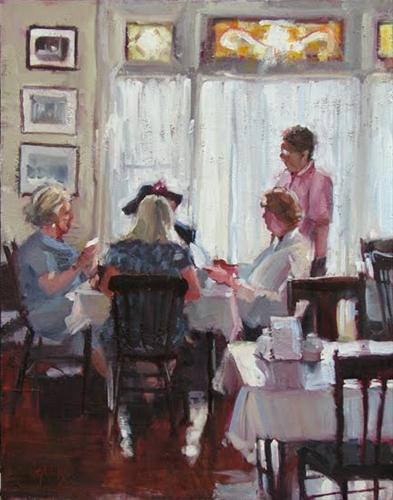 """Peony Tea Room"" original fine art by Robin Cheers"