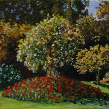 """Monet's In the Garden - variation"" original fine art by Nan Johnson"