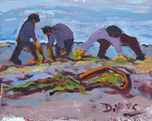 """Gathering Seaweed"" original fine art by Darlene Young"