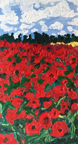 """Field of Red Poppies"" original fine art by Nava Judith"