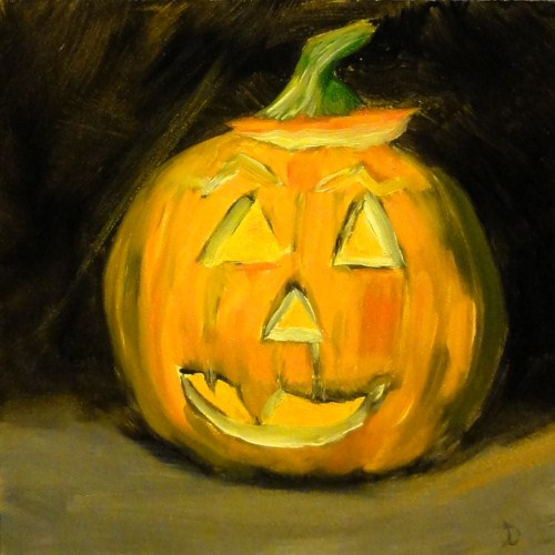 """Our First Pumpkin"" original fine art by Dalan Wells"