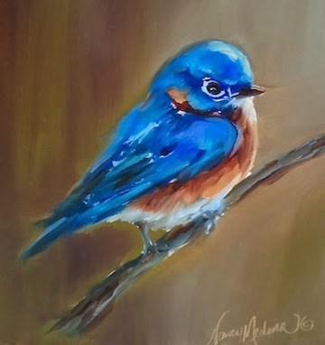 """Little Blue Bluebird and a January Flower Painting Workshop by Nancy Medina"" original fine art by Nancy Medina"