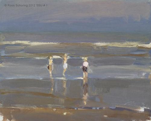 """Seascape summer # 1 Sunlit children shoreline - Kinderen der zee"" original fine art by Roos Schuring"