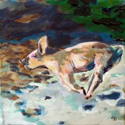 """a flying pig"" original fine art by Claudia Brandt"