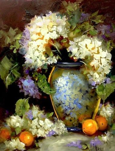 """Violet Dreams White Hydrangeas and a North Texas Workshop by Nancy Medina"" original fine art by Nancy Medina"