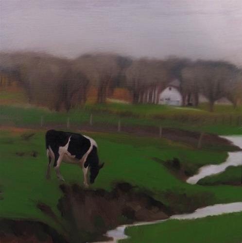 """Cow in Berlin, Ohio in Spring"" original fine art by Diane Hoeptner"