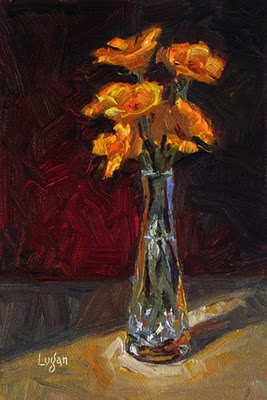 """Poppies in Vase"" original fine art by Raymond Logan"