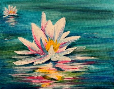 """Lily's Rainbow Reflections"" original fine art by Joanne Abbott"