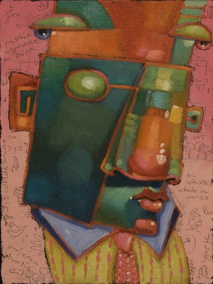 """Guys In Ties #8, Whistles While He Works"" original fine art by Brenda York"