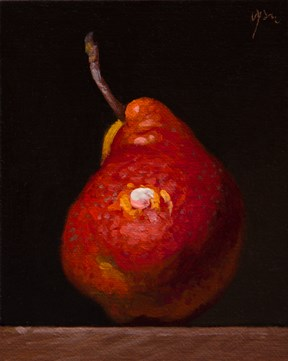 """Red Pear  (+ Mary Oliver on What Attention Really Means)"" original fine art by Abbey Ryan"