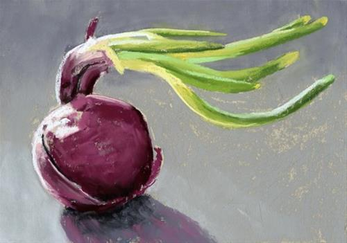 """Red Onion pastel painting"" original fine art by Ria Hills"