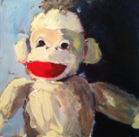 """""""sock monkey"""" original fine art by Shelley Garries"""