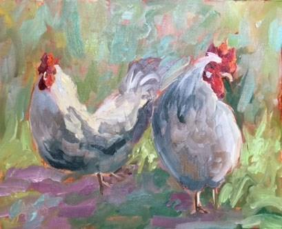"""Cluck Cluck"" original fine art by Anne Marie Propst"