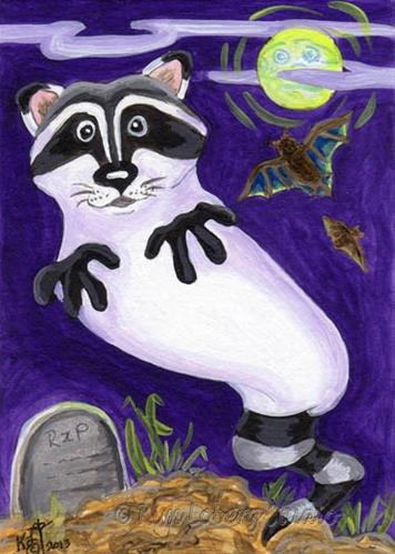 """Rise and Shine! Ghost Raccoon"" original fine art by Kim Loberg"