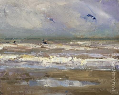 """Seascape Pleinair ""Kite Surfers"""" original fine art by Roos Schuring"