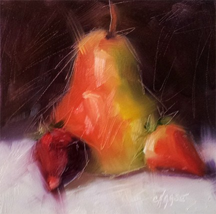 """Pear and Strawberries"" original fine art by Cindy Haase"