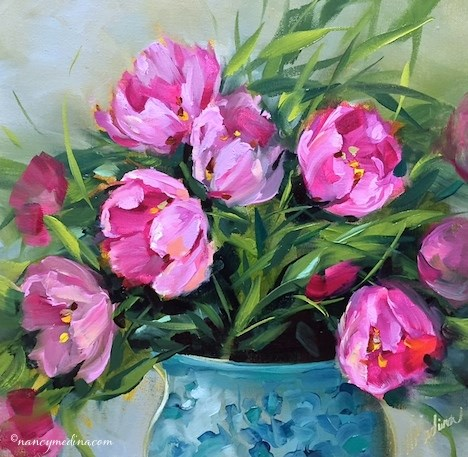 """Pink Tulip Jubilee and a Gift for You - Flower Painting Classes and Workshops by Nancy Medina Art"" original fine art by Nancy Medina"
