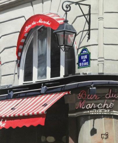 """Le Bar du Marche II"" original fine art by Andre Beaulieu"