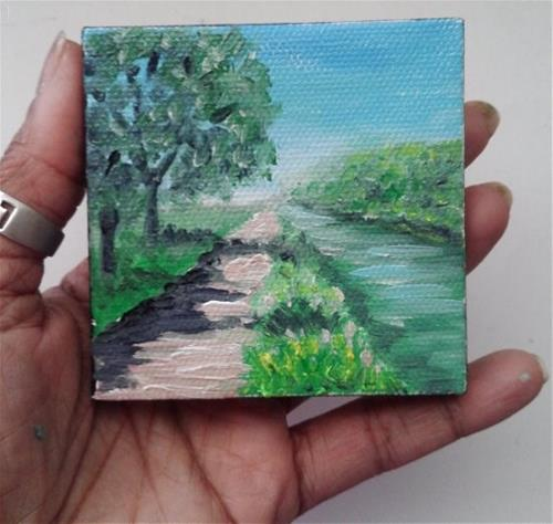 """Pathway by River"" original fine art by Camille Morgan"