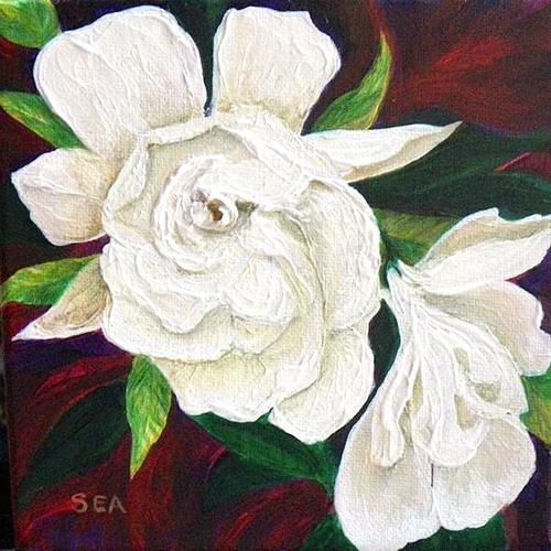 """2008 - Fragrant Gardenia - Miniature Massterpiece"" original fine art by Sea Dean"