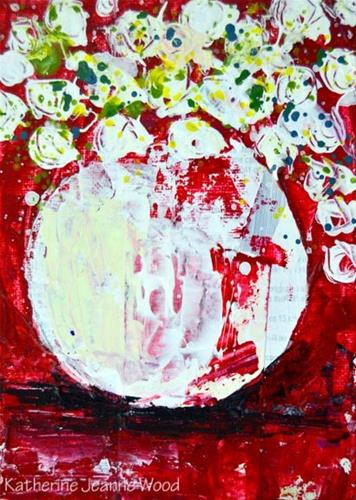 """Red and white floral painting No 138"" original fine art by Katie Jeanne Wood"