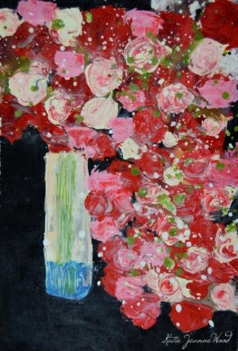 """Red, pink and white cottage chic roses acrylic painting No 191"" original fine art by Katie Jeanne Wood"