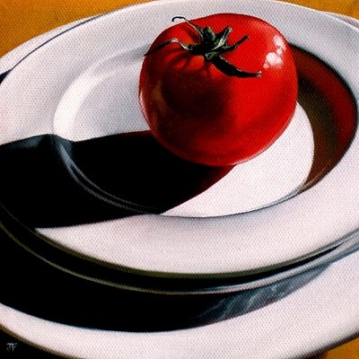 """Hothouse Tomato"" original fine art by Jelaine Faunce"