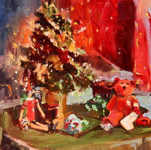"""Christmas Still Life  original oil painting by Robin Weiss"" original fine art by Robin Weiss"