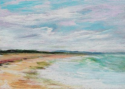 """3084 - SPRING TIDE - ACEO DUO Series"" original fine art by Sea Dean"