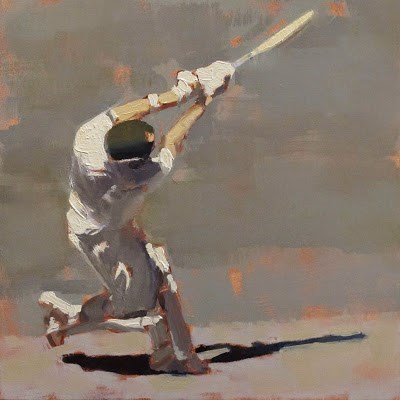 """SIX! - Cricket at the MCG"" original fine art by Helen Cooper"