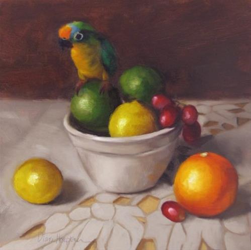 """""""Bird Meets Fruit, fruit still life with bird"""" original fine art by Diane Hoeptner"""