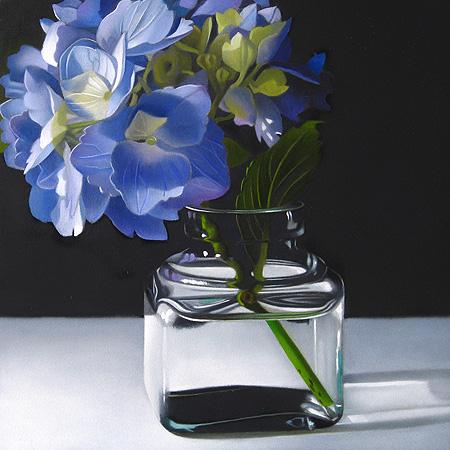 """ Blue Hydrangea No.2  6x6"" original fine art by M Collier"