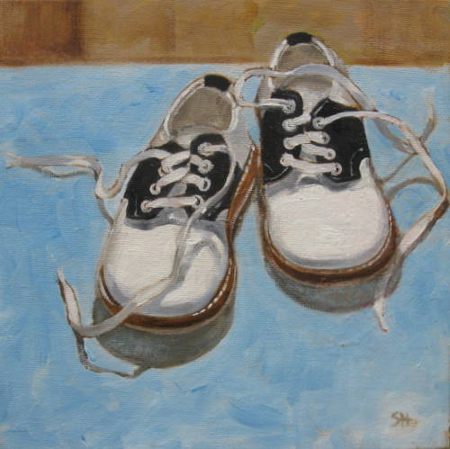 """baby saddle oxfords"" original fine art by Sandy Haynes"