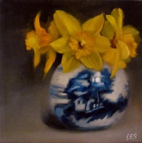 """Daffodils and Chinese Porcelain"" original fine art by ~ces~ Christine E. S. Code"
