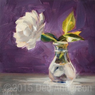 """Oil painting of Cloudette's White Rose"" original fine art by Deb Anderson"