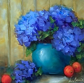 """Oasis Blue Hydrangeas and a Hydrangea DVD - Flower Paintings by Nancy Medina"" original fine art by Nancy Medina"
