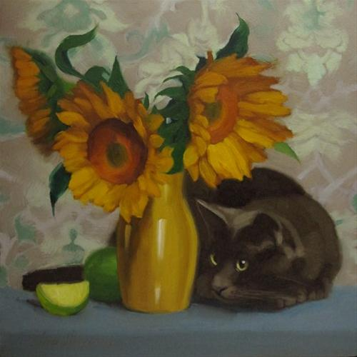 """Spy Cat oil painting of gray cat and sunflowers"" original fine art by Diane Hoeptner"
