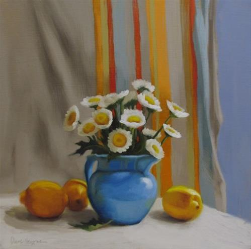 """Lemon Daisies II, floral still life painting with Daisies and Lemons"" original fine art by Diane Hoeptner"
