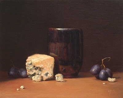"""Still Life with Grapes, Tea Bowl, and Bleu Cheese (larger painting)"" original fine art by Abbey Ryan"