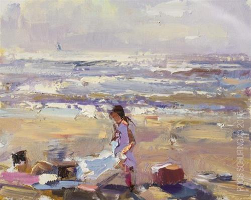 """Seascape Pleinair ""Sunny Evening"""" original fine art by Roos Schuring"